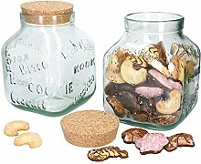 MamboCat Keksdose XL aus Glas mit Kork-Deckel I