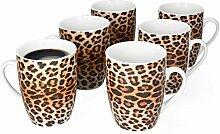 MamboCat Leopard Lampart 6er Set Kaffeebecher mit