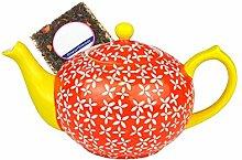 MamboCat Teekanne mit Blumen-Dekor (orange) -