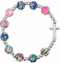 MaMeMi Armband mit Kreuz, Bunte Perlen. Toller