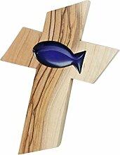 MaMeMi Holzkreuz Olivenholz Fischeinlage blau * 13