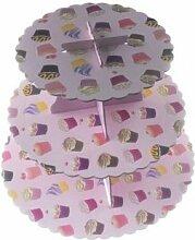 Man Friday 3 Ebenen Schrank Tortenständer rosa Kuchen-Muster -Kuchen- Halter