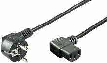 Manax Geräte-Anschlusskabel Winkel Schuko-Stecker -Winkel Kaltgeräte-Kupplung IEC 320 C13 3,0 M schwarz, 1 Stück, 96032