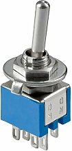 Manax Kippschalter Subminiatur 2x Ein-Ein, 6 pins, blaues Gehäuse, 10 Stück, 10015
