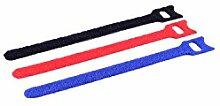 MANAX® Klett Verbinder Kabelbinder 3-farbig (24 Stück)