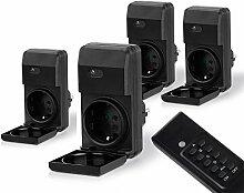 MANAX® Outdoor Funksteckdosen-Set (4+1) für den Außenbereich (Outdoor) | 4x Funkschalter-Steckdosenset | 1x Fernbedienung | Kindersicherungsschutz | hohe Funkreichweite von ca. 30m | IP44-Norm für Außenbereich | schwarz