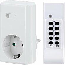 Manax RCS200 Funksteckdosen mit LED-Indikator Starterset, 4-Kanal (1x Funksteckdose, 1x Fernbedienung), Reichweite 30 m, Innenraum, weiß