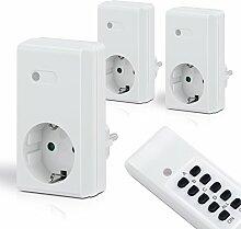 MANAX RCS230 4-Kanal Funksteckdosen-Set (3 Steckdosen und 1 Funkfernbedienung) für den Innenbereich, LED-Anzeige, Reichweite: 30 m, weiß