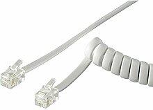Manax Telefonhörer-Spiralkabel 2Xmodularstecker RJ10 4P4C Weiss 7,0 M, 1 Stück, 68872