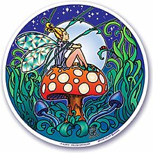 "Mandala Arts Bunter Aufkleber Window Aufkleber - 4.5 """"Doppelseitig -""""Feenhaften Pilz """"von Bryon Allen (S16) Mandala Arts Colorful Decal Window Sticker - 4.5"""" Double Sided - """"Fairy Mushroom"""" by Bryon Allen (S16)"