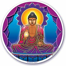 "Mandala Arts Colorful Decal Fensteraufkleber - 4.5 """"Doppelseitig -"""" Buddha Light """"von Bryon Allen (S15) Mandala Arts Colorful Decal Window Sticker - 4.5"""" Double Sided - """"Buddha Light"""" by Bryon Allen (S15)"