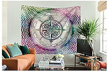 Mandala Compass Printed Wandteppich Psyschedelic