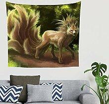 Mandala Fantasie Kitsune Ninetails Fuchs Grün