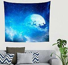 Mandala Fantasie Weihnachtsmann Rentier Blau Mond
