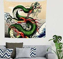 Mandala Japanisch Grün Drache Blau Großes Wellen
