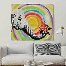 Mandala Regenbogen Elefant mit Blumen Wandteppich