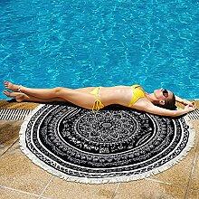 Mandala Round Beach Handtuch mit Quasten Boho Zigeuner Tischdecke Strand Decke Pinnic Wandteppich überdimensioniert Schwarz 59 Zoll