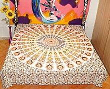 Mandala Schmusetuch Elefant Bettwäsche Überwurf indischen handgefertigt Bettb...