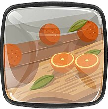 Mandarine auf Schneidebrett, quadratische Knöpfe,