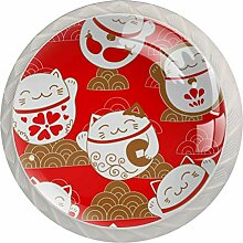 Maneki Neko Schubladenknöpfe aus Glas für