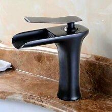 MangeooAntik schwarz Wasserfall Waschbecken Wasserhahn, Schwarz kurze