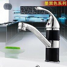 Mangeoo _Bad Armatur Heimtextilien Kupfer Einloch Mischbatterie Waschbecken WC Badezimmer Armatur Rotation, Schwarz Color Mixer