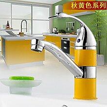 Mangeoo _Bad Armatur Heimtextilien Kupfer Einloch Mischbatterie Waschbecken WC Badezimmer Armatur Rotation, Herbst gelb Farbe Wasserhahn