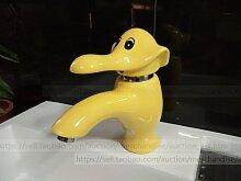 Mangeoo Der Keramik Kinder Taps, heiße und kalte Farbe Elefanten, Waschbecken, Waschbecken, Wasserhähne, gelb