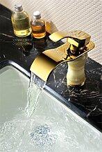 MangeooDie hochwertige Jade Gold Kupfer Badezimmerschrank Waschtisch Wasserfall Armatur, weißer Jade