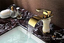 MangeooDie hochwertige Jade Gold Kupfer Badezimmerschrank Waschtisch Wasserfall Armatur, Jade