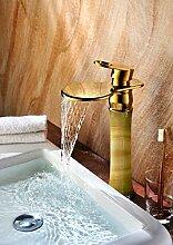 Mangeoo Europäische grüne Jade Marmor Waschbecken mit warmen und kalten Wasseranschluß Kupfer Gold Waschbecken Wasserhahn, Gelb Grün, rund, grün