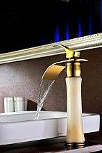 Mangeoo Europäische grüne Jade Marmor Waschbecken mit warmen und kalten Wasseranschluß Kupfer Gold Waschbecken Wasserhahn, Gelb, beige, gekrümmte Gelbe