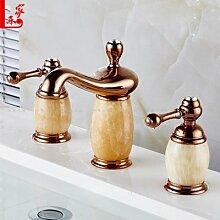 MangeooEuropean Copper Rose Gold Jade 3 Stück Bad vergoldete Badezimmerschrank Waschtisch Armatur eingestell