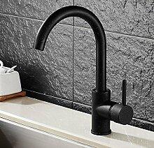 Mangeoo Faucet Schwarzer Granit Revolvierenden Küche Wasserhahn, Zwei Waschbecken, Waschbecken, Spritzer Kalten Fließendem, Schwarzpunkt Schwarz