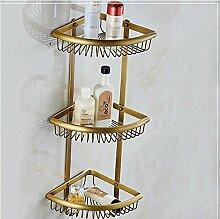 Mangeoo Im europäischen Stil, Badezimmer Badezimmer Kupfer antik single Ecke rack Handy frame Warenkorb Dreieck Warenkorb bronze Rack, Antik Bronze Ventilator mit 3 Schichten der eckige Körbe