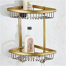 Mangeoo Im europäischen Stil, Badezimmer Badezimmer Kupfer antik single Ecke rack Handy frame Warenkorb Dreieck Warenkorb bronze Rack, Antik Bronze Ventilator mit 2 Lagen eckige Körbe