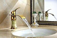 MangeooKupfer kalte Waschbecken Armatur gold Jade Wasserfall, Jade