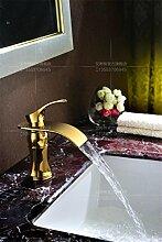 MangeooKupfer kalte Waschbecken Armatur gold Jade Wasserfall, Golden