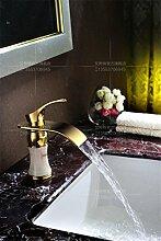 MangeooKupfer kalte Waschbecken Armatur gold Jade Wasserfall, weißer Jade