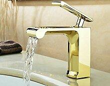 MangeooKupfer Wasserfall Waschtisch Armatur Waschbecken Armatur Gold Silber Höhe 16,5 cm, Golden