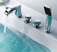 MangeooModerne, einfache Bohrung fünf Badewanne Armatur, Persönlichkeit split Badewanne Armatur Dusche, fünf Sätze der Dunklen montiert Badewanne Dusche