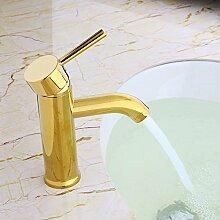 MangeooModerne runde Deck montiert Badezimmer Waschbecken Armatur Armaturen ein Griff Loch Gold