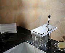 Mangeoo Persönlichkeit Wasserfall Wasserhahn, Gold antik, Kupfer Wasserhahn Armatur, Waschtisch Armatur, Crystal Silver 006 B