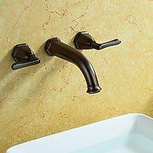 MangeooRetro im Europäischen Stil, Armatur, Chrom, Kupfer, heiß und kalt in der Wand, über dem Waschbecken Wasserhahn, Braun Bronze