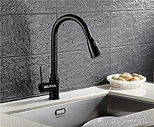 MangeooSchwarz ziehen Art Gericht Waschbecken mit warmen und kaltem Wasser drehenden Küche Wasserhahn