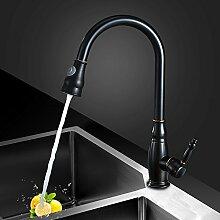 MangeooSchwarze Küche Waschbecken mit warmen und kaltem Trinkwasser einzelne Bohrung Bleifrei 304 Edelstahl Waschbecken Wasserhahn, D-Zeichnung