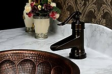 MangeooTabelle antik Kupfer Waschbecken Wasserhahn heißen Europäischen Zuspitzung kunst Waschbecken Wasserhahn, Braun Bronze 117 Z