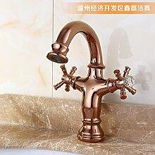 MangeooVergoldete Kupfer Wasserhahn, Waschbecken, Waschbecken, Pan, Kupfer, hochwertige Waschbecken, Warm- und Kaltwasser Armatur