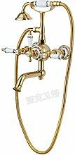 MangeooVolle Kupfer Badewanne Dusche, Marmor Rose Gold im Europäischen Stil Badewanne Armatur, Titan blau und weiß Porzellan verlänger
