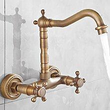 MangeooWand alle Keramik Keramik retro Bronze warmes und kaltes Wasser, Waschmaschine, Hohe Wand Armatur Wasserhahn